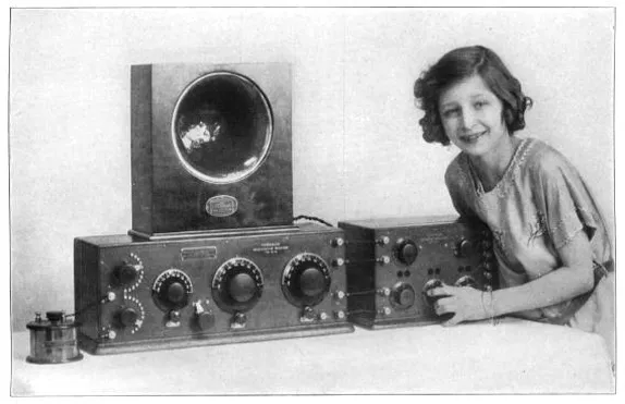 girl with radio equipment